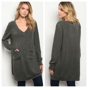 Long gray V-neck tunic top with pockets